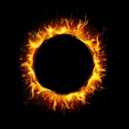 illustratie van brand vlam in cirkelvormig kader