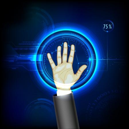 ilustración de las pruebas de huellas digitales con escaneo mano Ilustración de vector