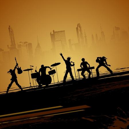 ilustración de la banda de músico en la realización de telón de fondo paisaje urbano