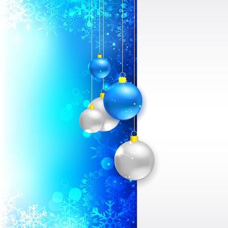 illustration of hanging Christmas Bauble on snowflakes background Stock Vector - 17062228