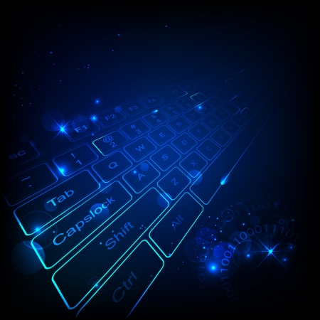 illustration of high tech keyboard with binary number Vector