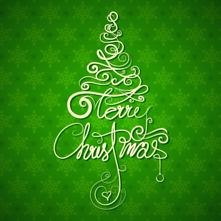 word art: illustration of Merry Christmas in tree shape on snowflakes background