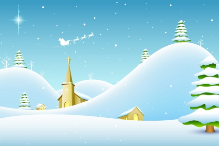 illustration of church in winter landscape in Christmas night Stock Vector - 17062377