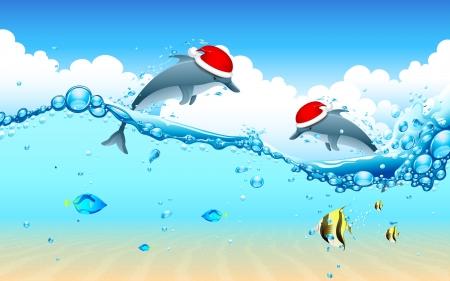 swim cap: illustration of dolphin couple wearing Santa cap celebrating Christmas