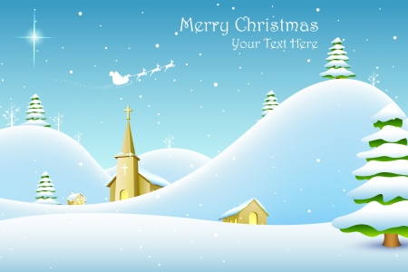 christmas landscape: illustration of church in winter landscape in Christmas night
