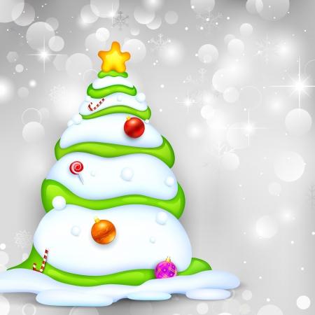 illustration editable: illustration of snowy Christmas tree on abstract background