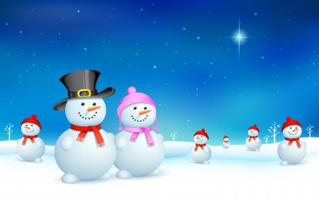 illustration of snowman celebrating Christmas Vector