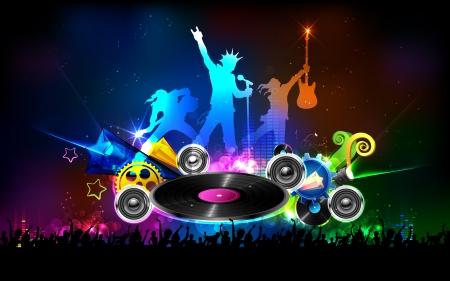guitarists: illustration of background for Disco Jockey Party Night Illustration