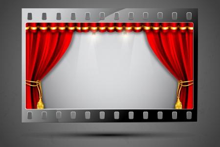 rideau sc�ne: illustration de rideau de sc�ne en bande de film montrant salles de cin�ma Illustration