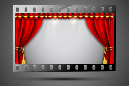 illustration of stage curtain in film stripe showing cinema theater Vector