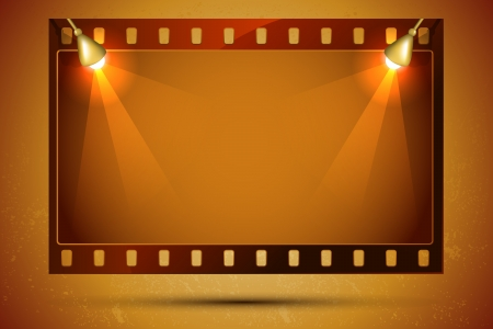 cinematic: illustration of blank film strip frame with focus light