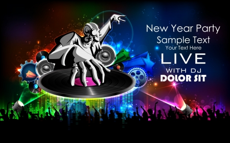 music loudspeaker: illustration of disco jockey playing music on New Year party