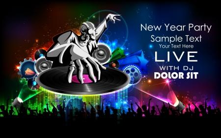 music dj: illustration of disco jockey playing music on New Year party