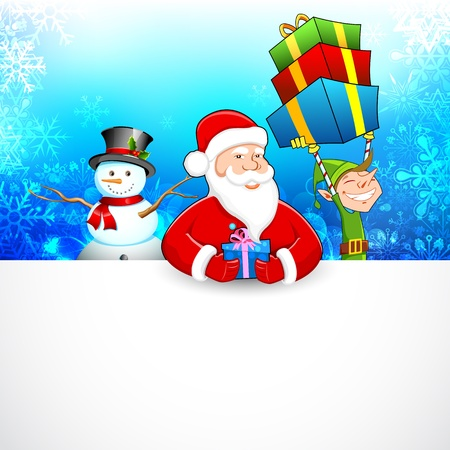 illustration of Santa Claus with Snowman and Elf distributing Christmas gift Stock Vector - 17062268