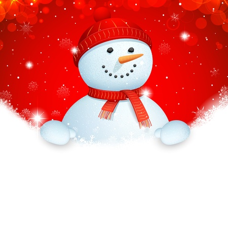 illustration of snowman wearing scarf in Christmas banner Stock Vector - 17062234