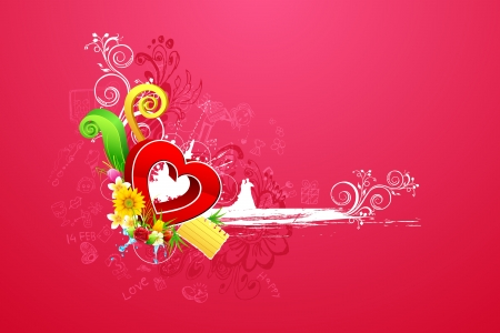 truelove: illustration of love couple on abstract valentine background