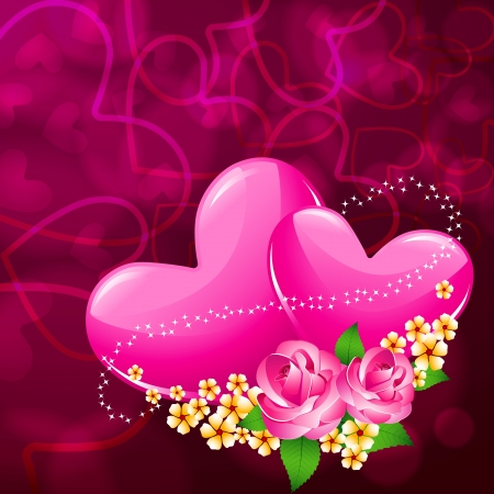 illustration of pair of heart with flower on love valentine card Vector