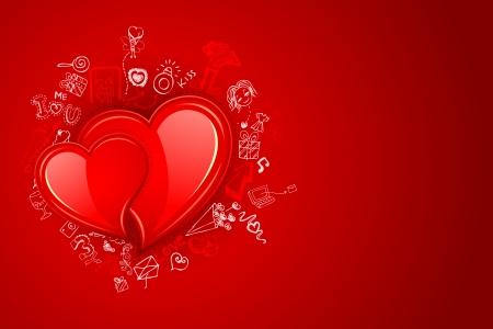 truelove: illustrazione di amore variopinto di doodle intorno coppia di cuore