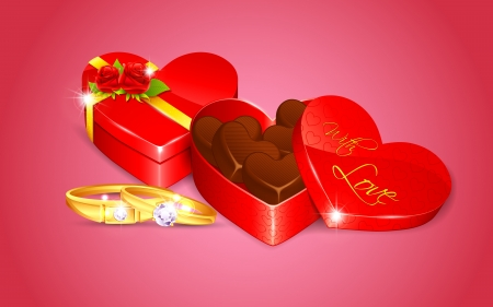 illustration of engagement ring with chocolate in heart shape box Vector