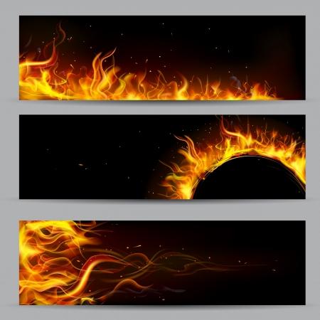 lägereld: illustration av uppsättning eld flamma banner Illustration