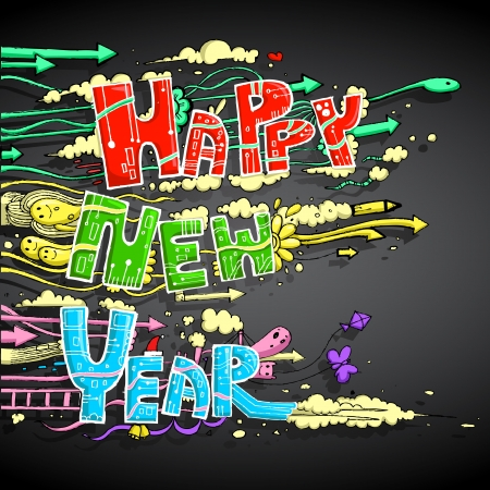 illustration of Happy New Year doddle with cloud Stock Vector - 17062269