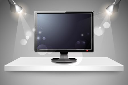 high definition television: illustration of high definition television on shelf Illustration