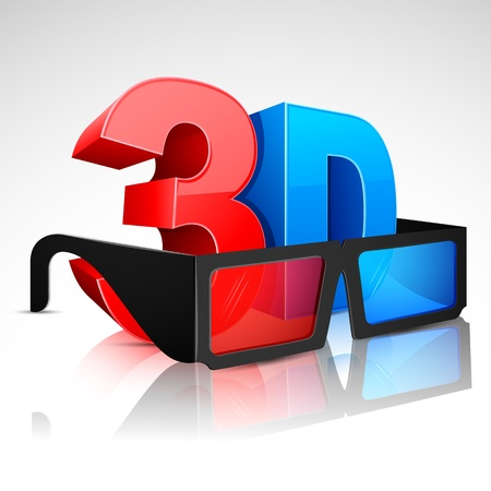 stereoscopic: illustration of 3D word written in red and blue color with 3D glasses Illustration