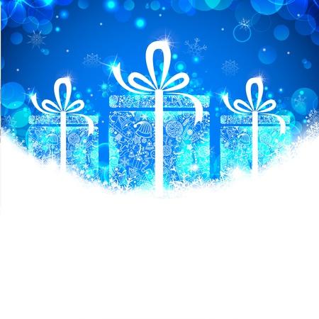 illustration of Christmas gift in snowy banner Stock Vector - 17062238