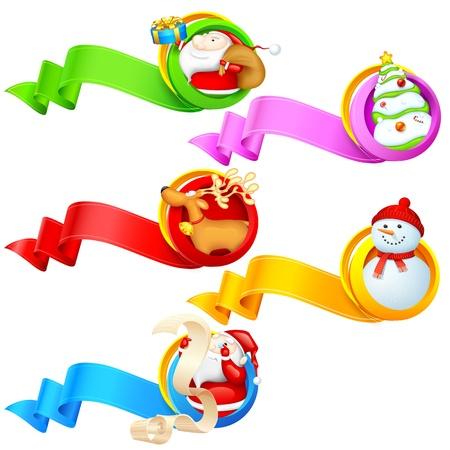illustration of Christmas object in ribbon banner Stock Vector - 17062233