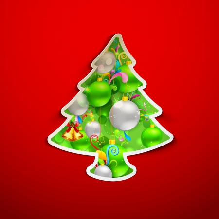illustration of colorful Christmas tree with colorful bauble Stock Vector - 17062294