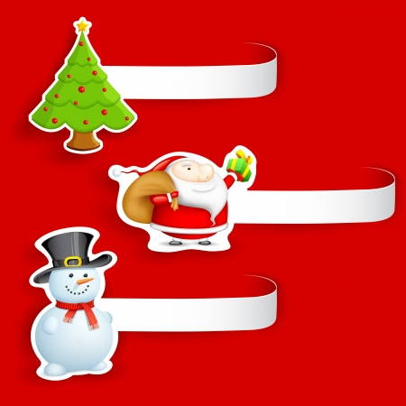 illustration of Christmas tag with different element Vector