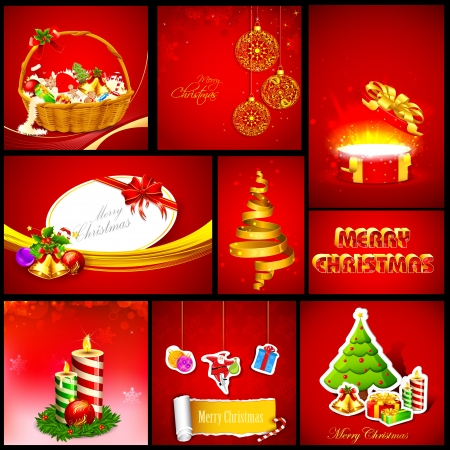illustration of Christmas background template in different shape and size Vector