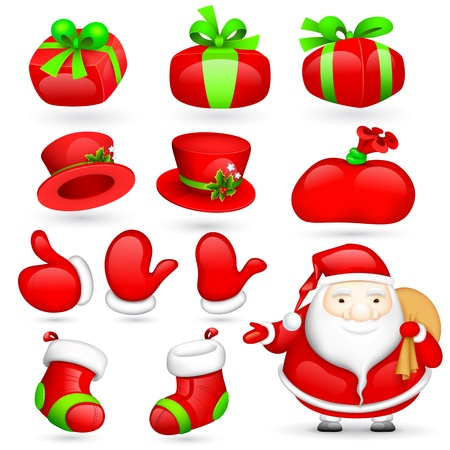 illustration of Santa Claus with Christmas element Stock Vector - 17062278