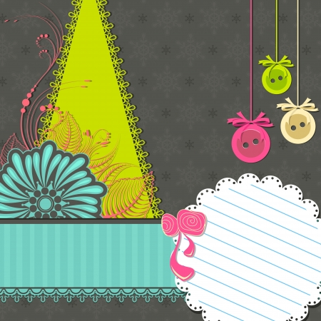 illustration editable: illustration of Christmas scrapbook with pine tree and flower