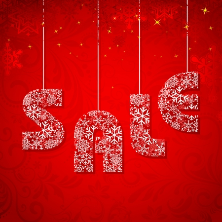 illustration of Christmas Sale made of snowflakes Vector