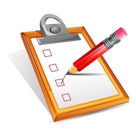 list: illustration of pencil making tick in check box in clipboard