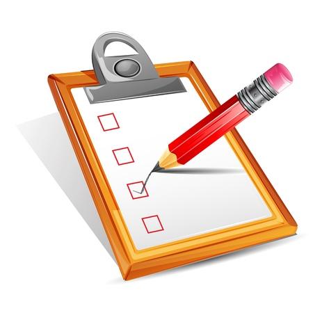 cheque en blanco: ilustración del lápiz haciendo tic en la casilla de verificación en el portapapeles