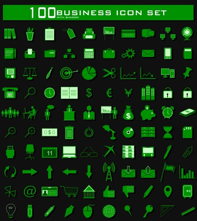 illustration of hundred clean business icon set with shadow Stock Vector - 17062325