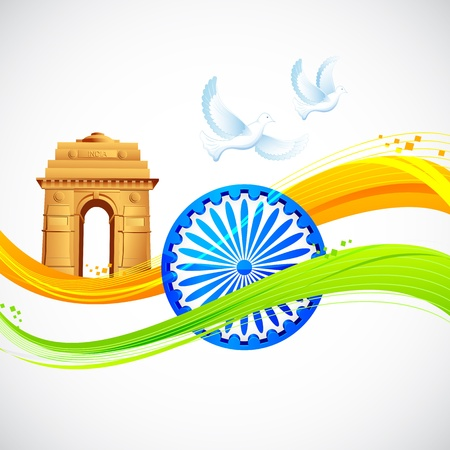 illustration of India Gate and Ashok Chakra with wavy Indian flag Vector