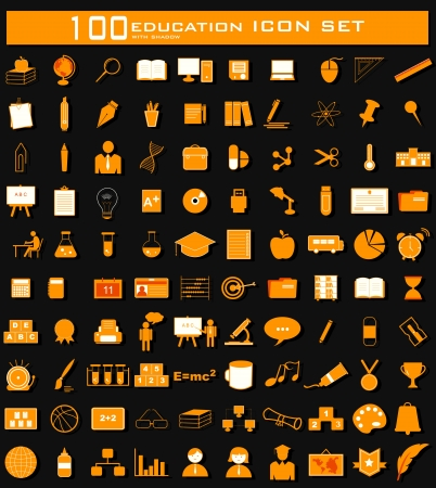pharmaceutics: illustration of hundred clean Education icon set with shadow