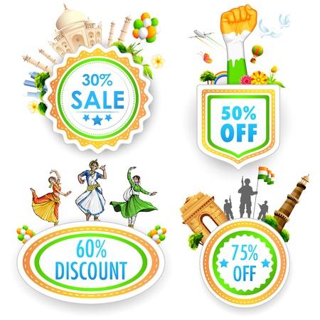 ashok: illustration of Sale promotion badge in India theme Illustration
