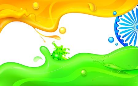 illustration of Ashoka Chakra in splashy Indian flag tricolor Vector