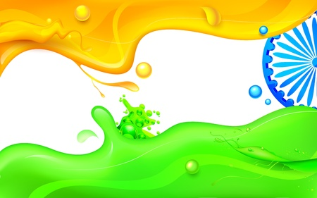 splashy: illustration of Ashoka Chakra in splashy Indian flag tricolor Illustration