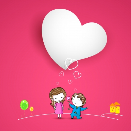 fiancee: illustration of man proposing lady on Love background