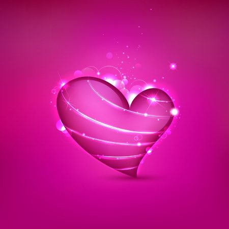 truelove: illustration of shiny Valentine heart on abstract background Illustration