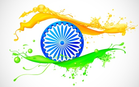 splashy: illustration of Ashoka Chakra in splashy Indian flag background