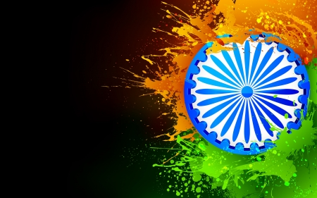 independence day: illustration of Ashok Chakra in Indian tricolor grungy background