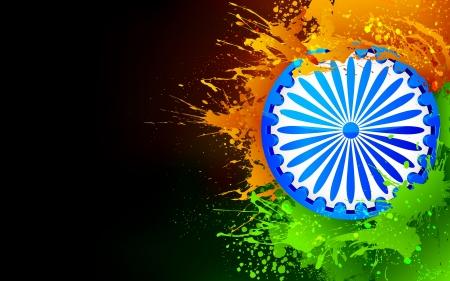 agosto: illustrazione di Chakra Ashok a Indian tricolore grungy sfondo