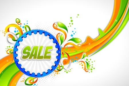 ashok: illustration of sale banner with Indian flag tricolor swirl