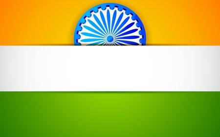 ashok: illustration of Ashok Wheel on Indian tricolor background